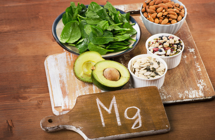 Magnesium Rich Foods on  wooden table.